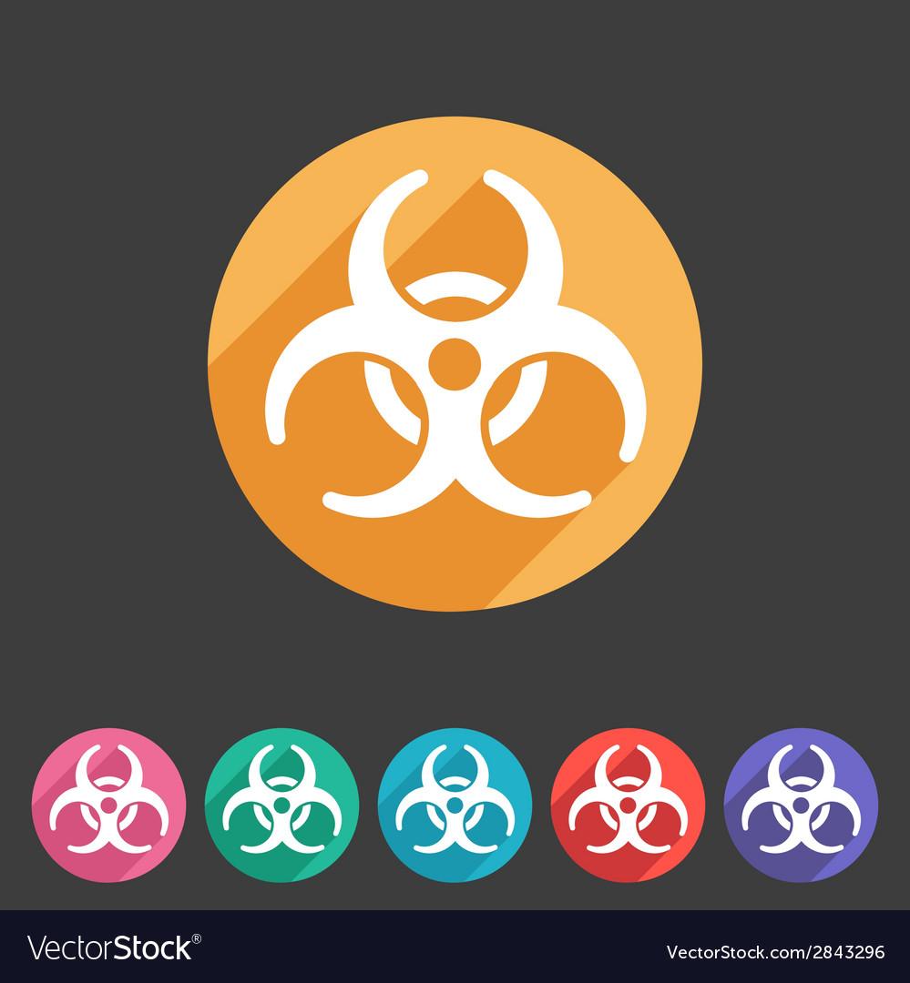 Biohazard flat icon badge vector | Price: 1 Credit (USD $1)