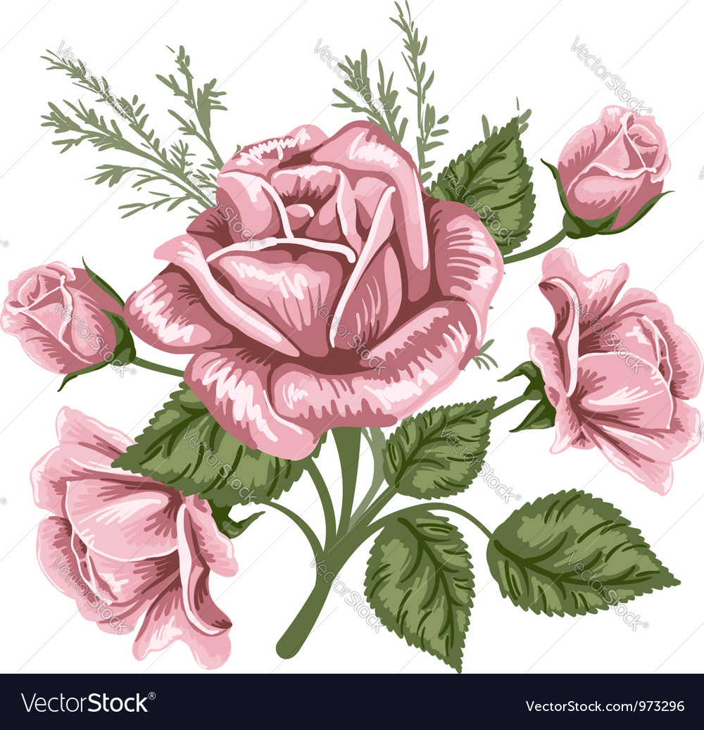 Bouquet with rose vector | Price: 1 Credit (USD $1)