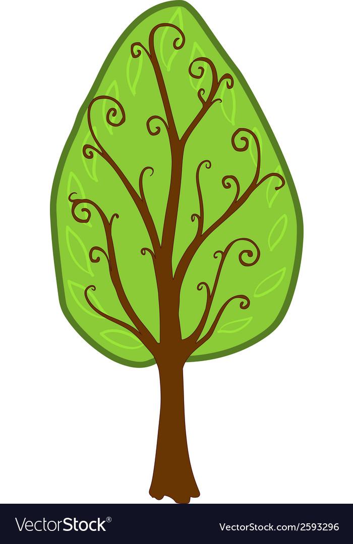 Cartoon tree isolated vector | Price: 1 Credit (USD $1)