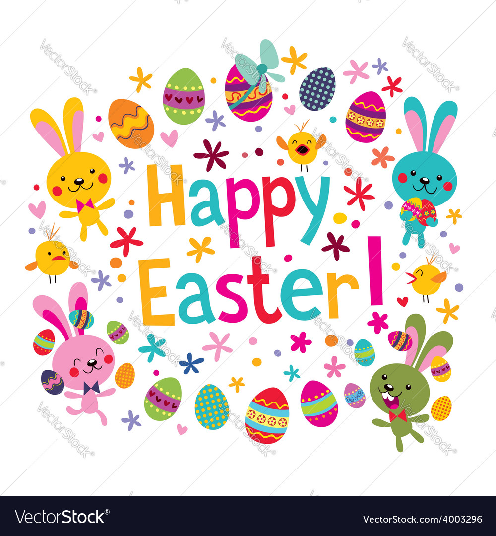Cute happy easter greeting card vector | Price: 1 Credit (USD $1)