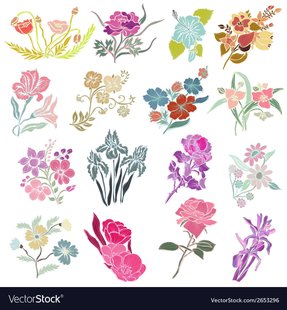 Decorative flowers vector | Price: 1 Credit (USD $1)