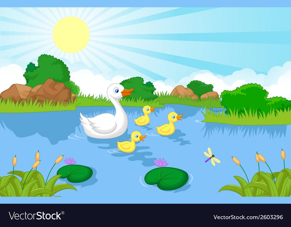 Duck family cartoon swimming vector | Price: 1 Credit (USD $1)