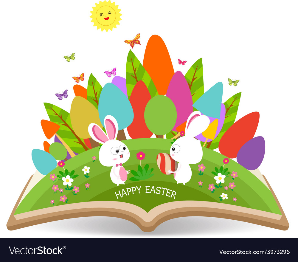 Easter egg and bunny spring with grass garden in vector | Price: 1 Credit (USD $1)