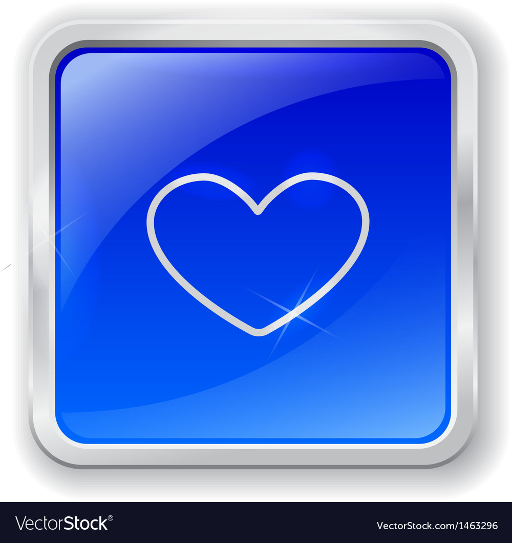 Heart icon on blue button vector | Price: 1 Credit (USD $1)