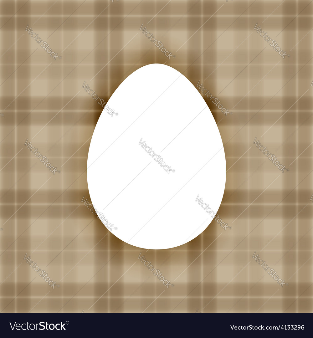 Plain white flat egg over warm brown checkered bac vector | Price: 1 Credit (USD $1)
