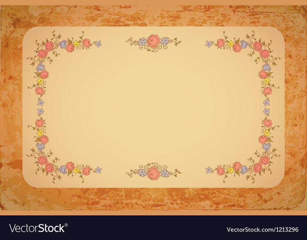 Retro floral card with flowers vector | Price: 1 Credit (USD $1)