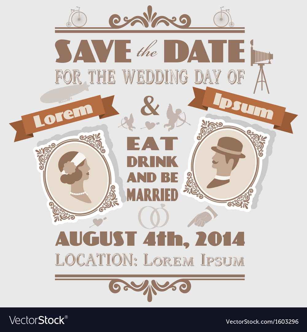 Vintage wedding invitation vector | Price: 1 Credit (USD $1)