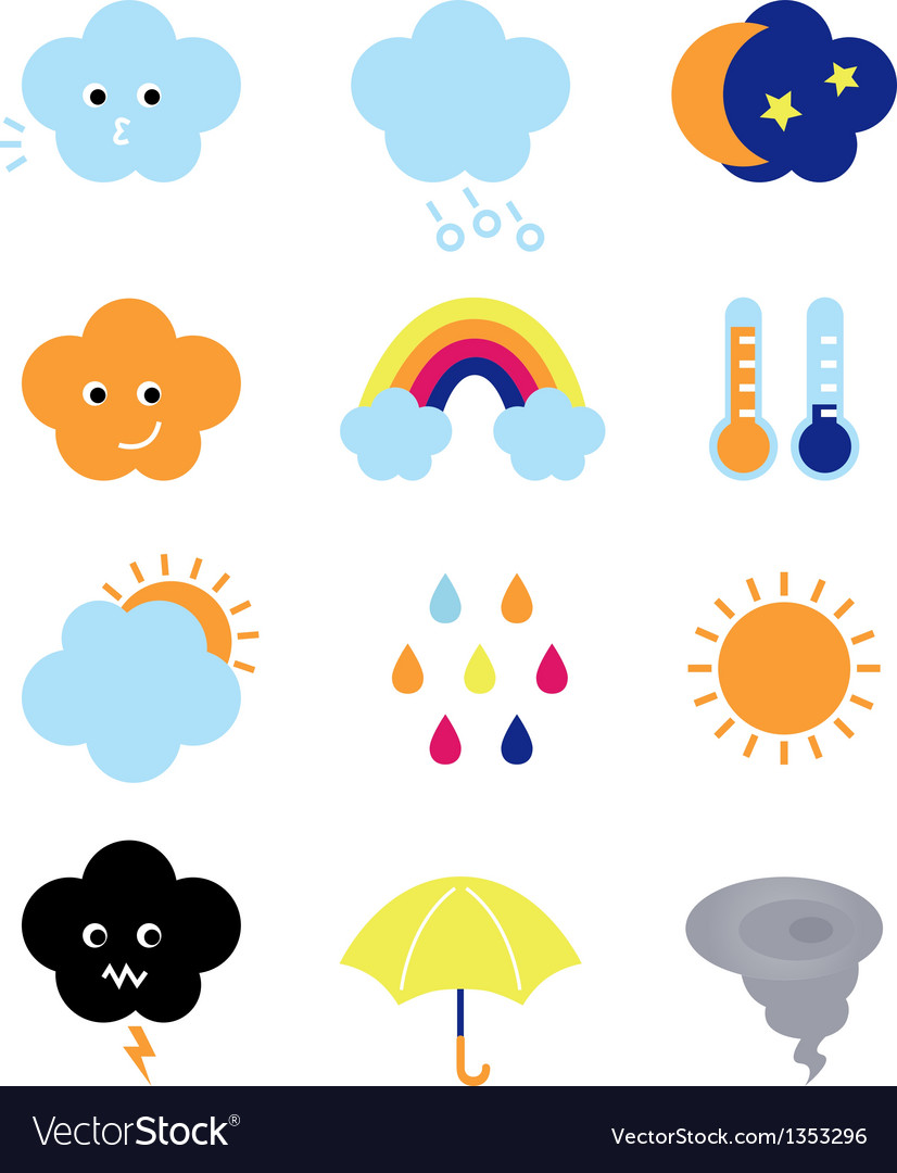 Weather cast cute elements set isolated on white vector | Price: 1 Credit (USD $1)