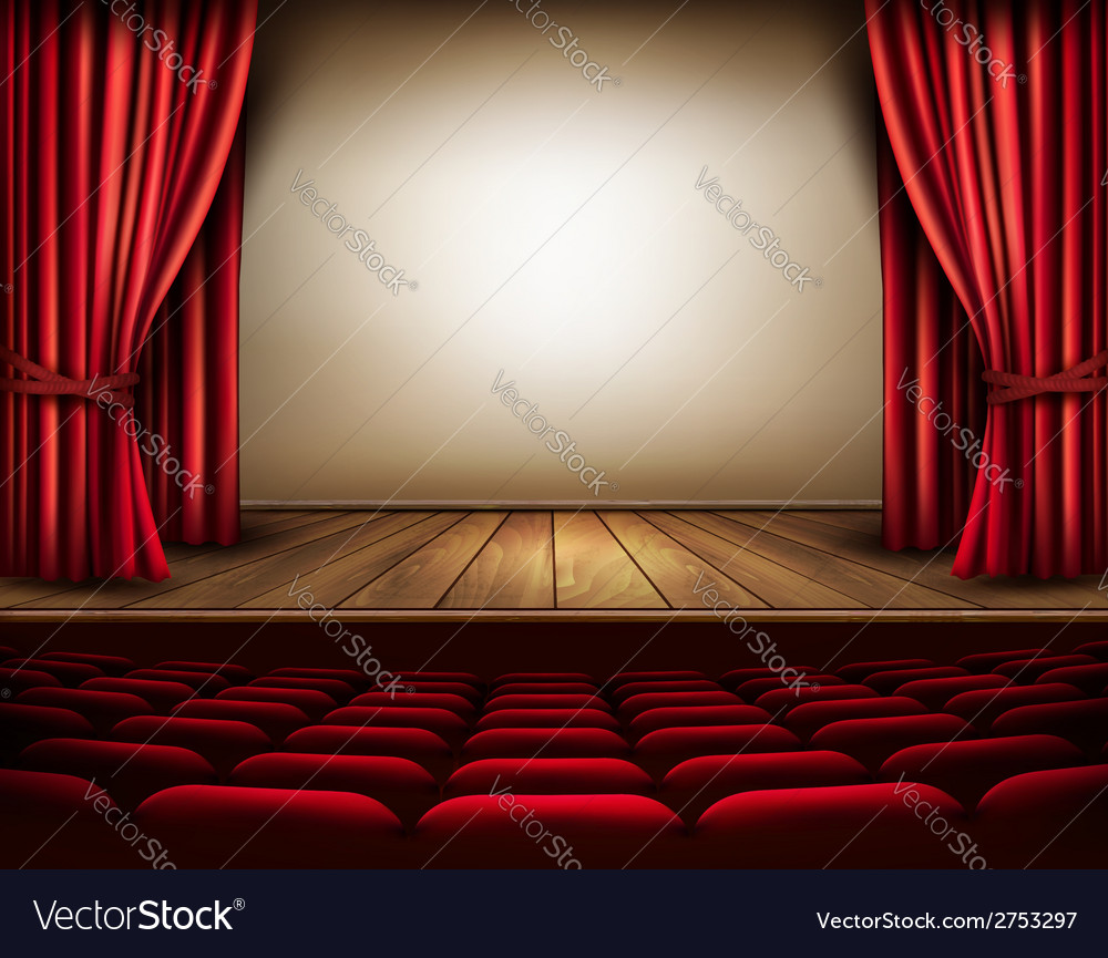 A theater stage with a red curtain seats vector | Price: 1 Credit (USD $1)