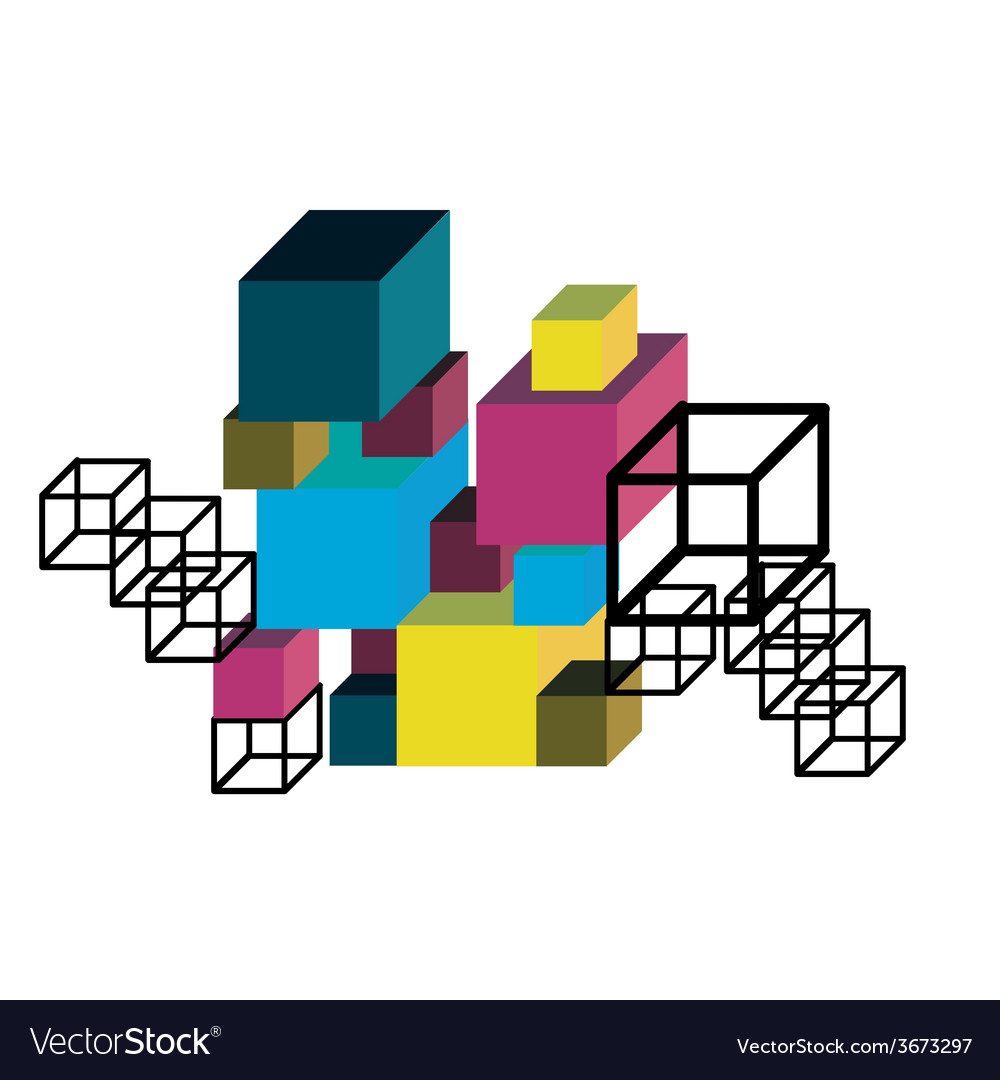 Abstract cube construction vector
