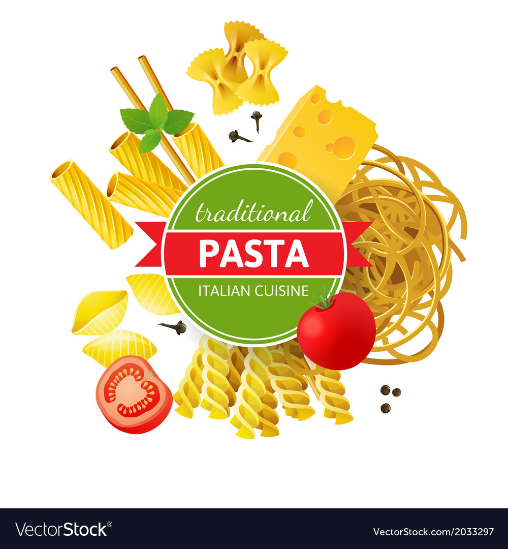 Background with different pasta types vector | Price: 1 Credit (USD $1)