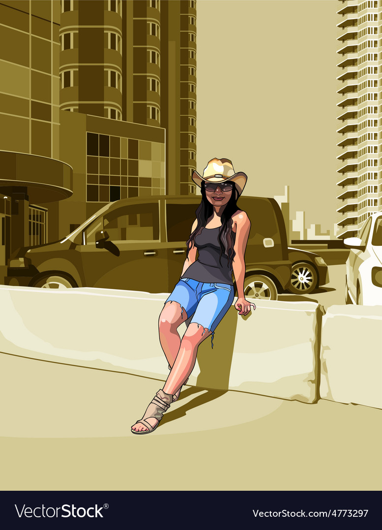 Cartoon woman in a cowboy hat among high rise vector | Price: 3 Credit (USD $3)