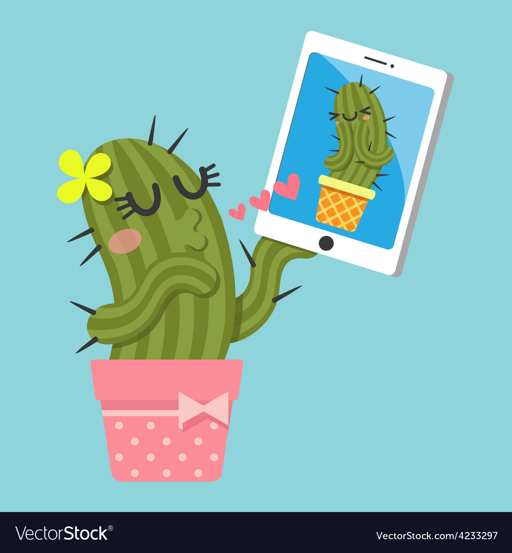 Chat cactus vector | Price: 1 Credit (USD $1)