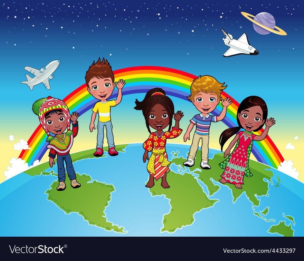 Children on the world vector