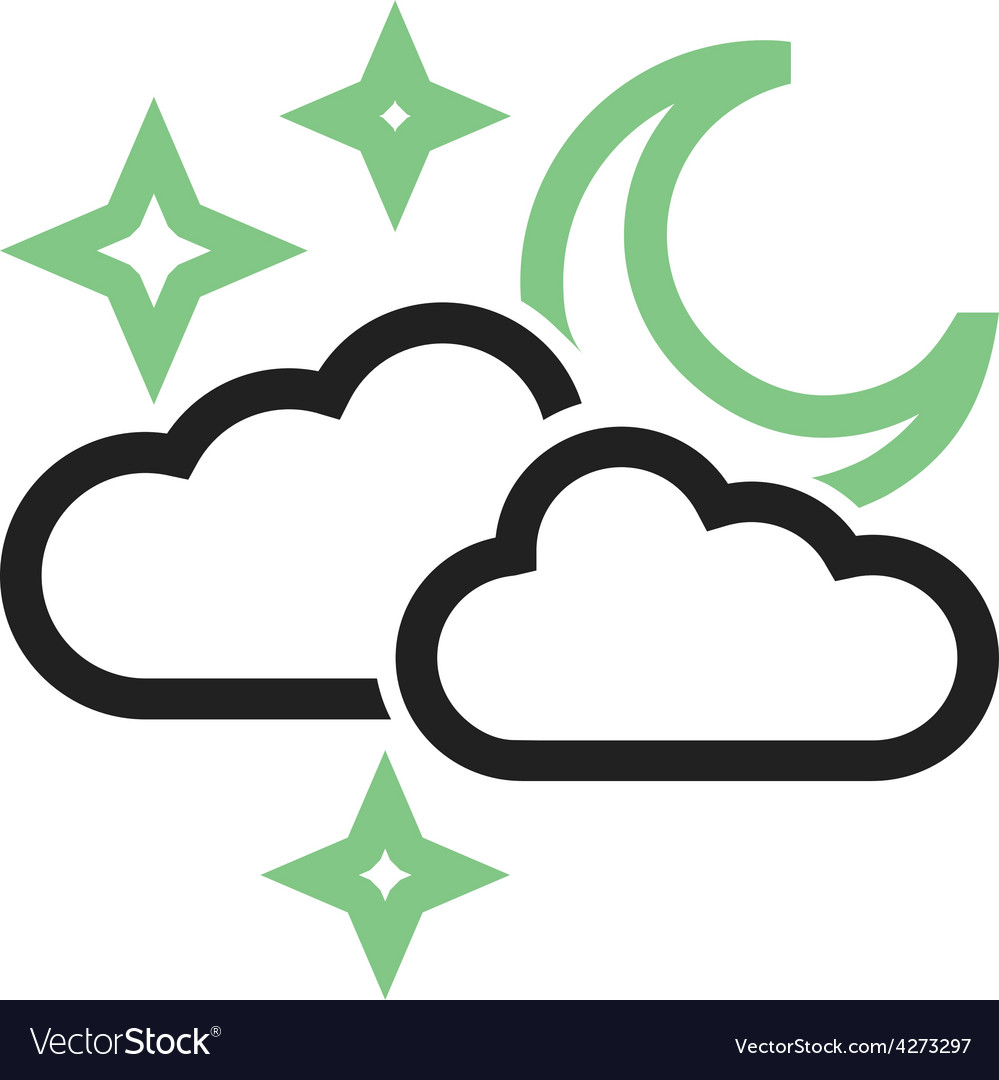 Cloudy with moon vector | Price: 1 Credit (USD $1)