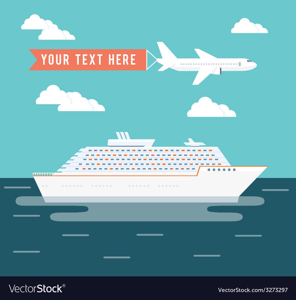 Cruise ship and plane travel poster design vector | Price: 1 Credit (USD $1)