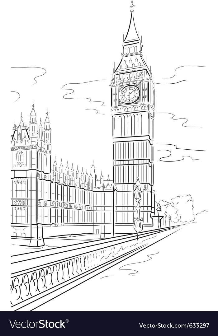 Drawing big ben of tower in london uk vector | Price: 1 Credit (USD $1)