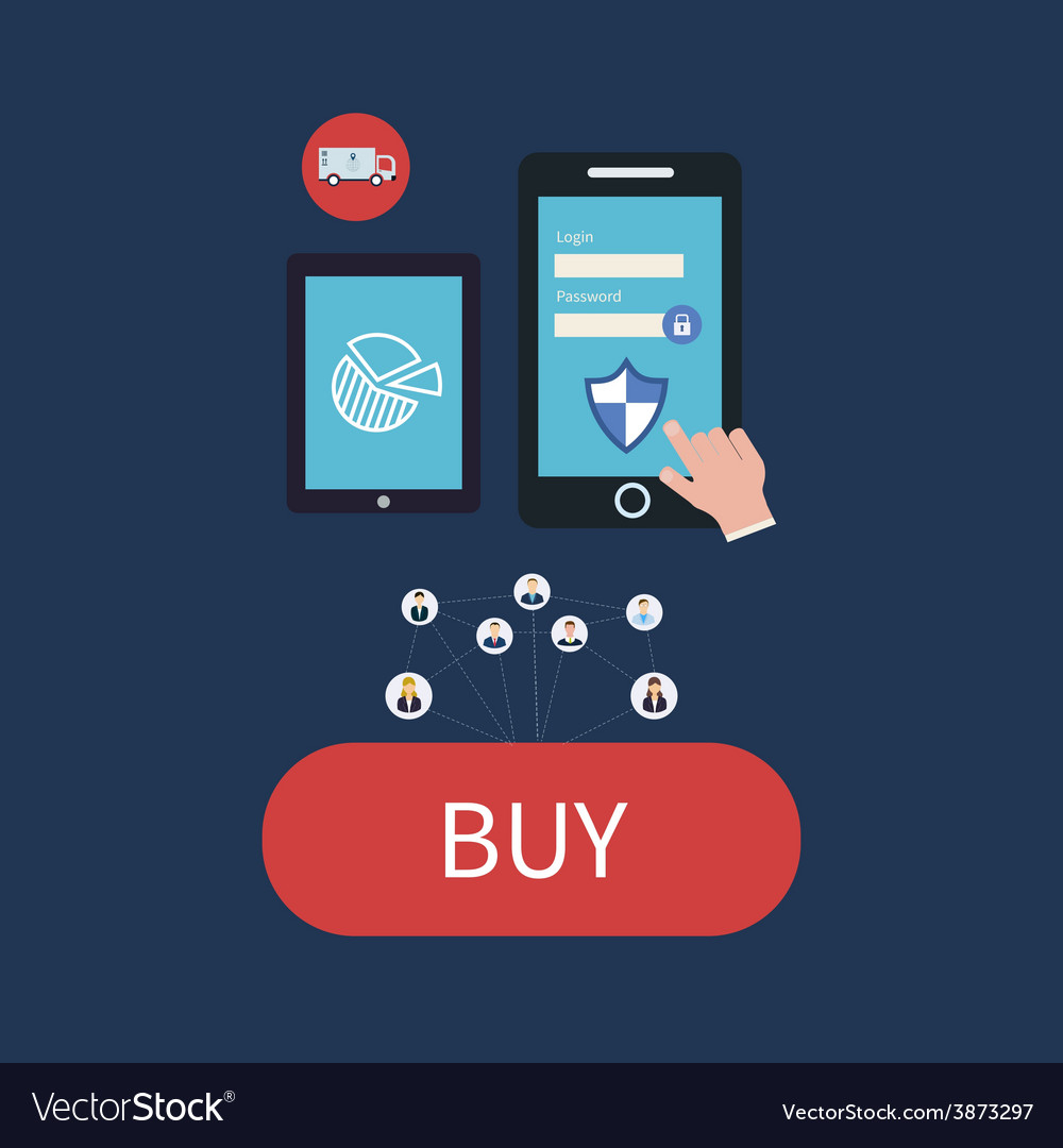 Flat web design icons for secure online shopping vector | Price: 1 Credit (USD $1)