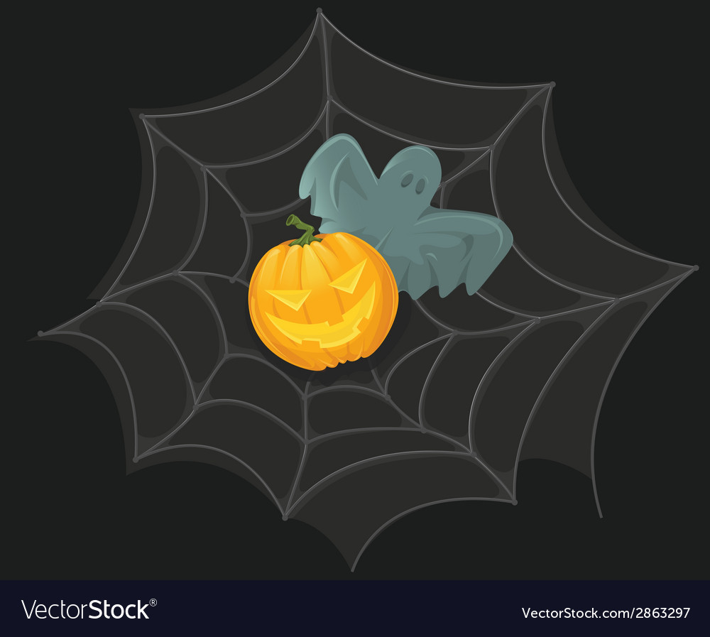 Halloween poster with pumpkin web and ghost vector | Price: 1 Credit (USD $1)