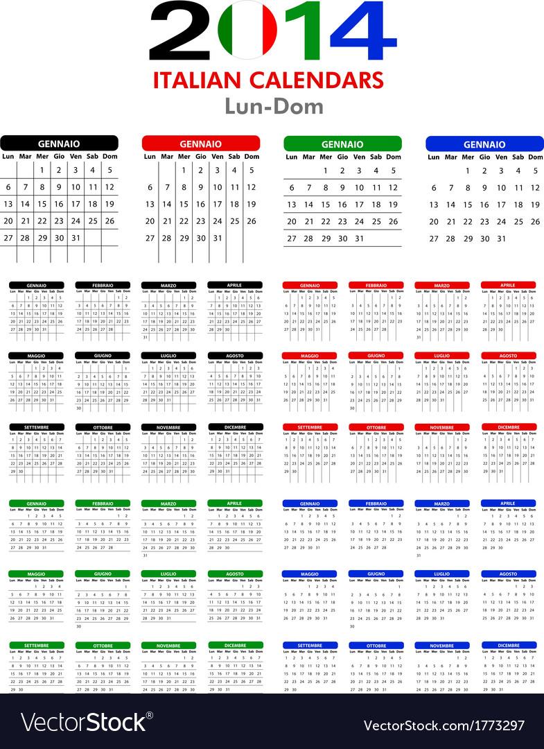 Italian calendar 2014 vector | Price: 1 Credit (USD $1)