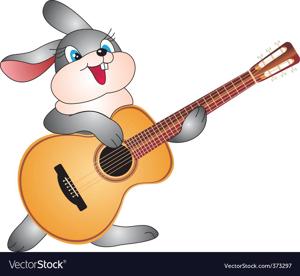 Rabbit with guitar vector   Price: 1 Credit (USD $1)