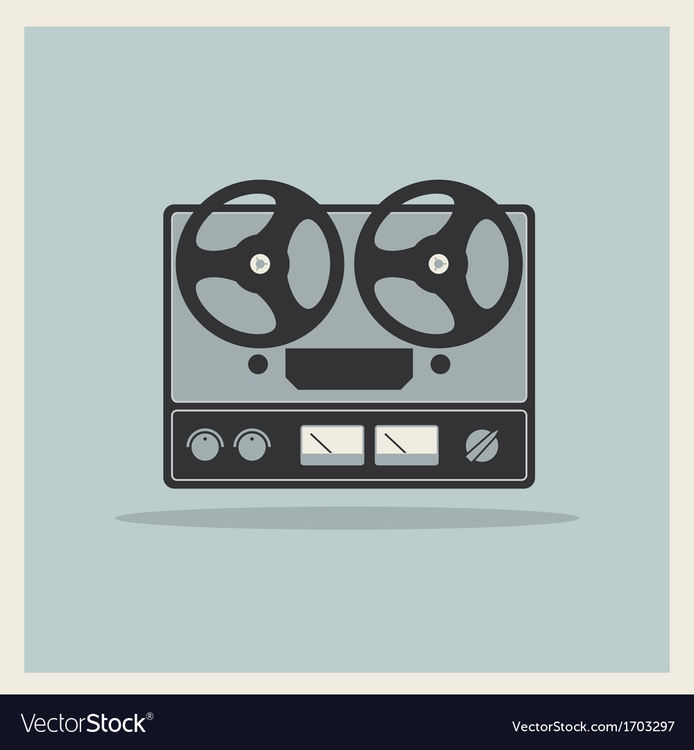 Retro background open reel recorder vector | Price: 1 Credit (USD $1)