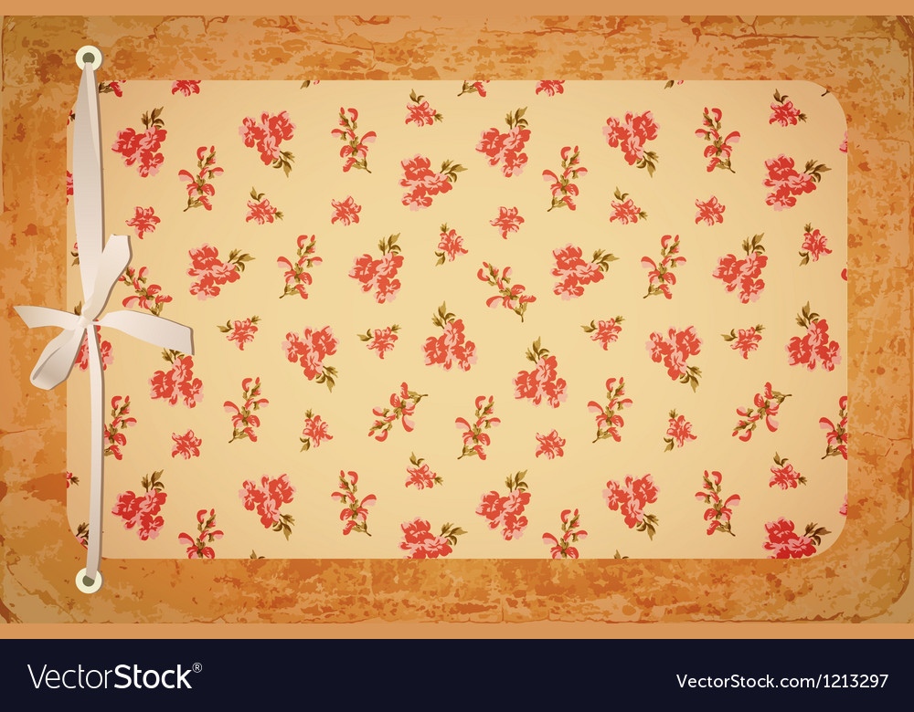 Retro floral card with bow vector | Price: 1 Credit (USD $1)