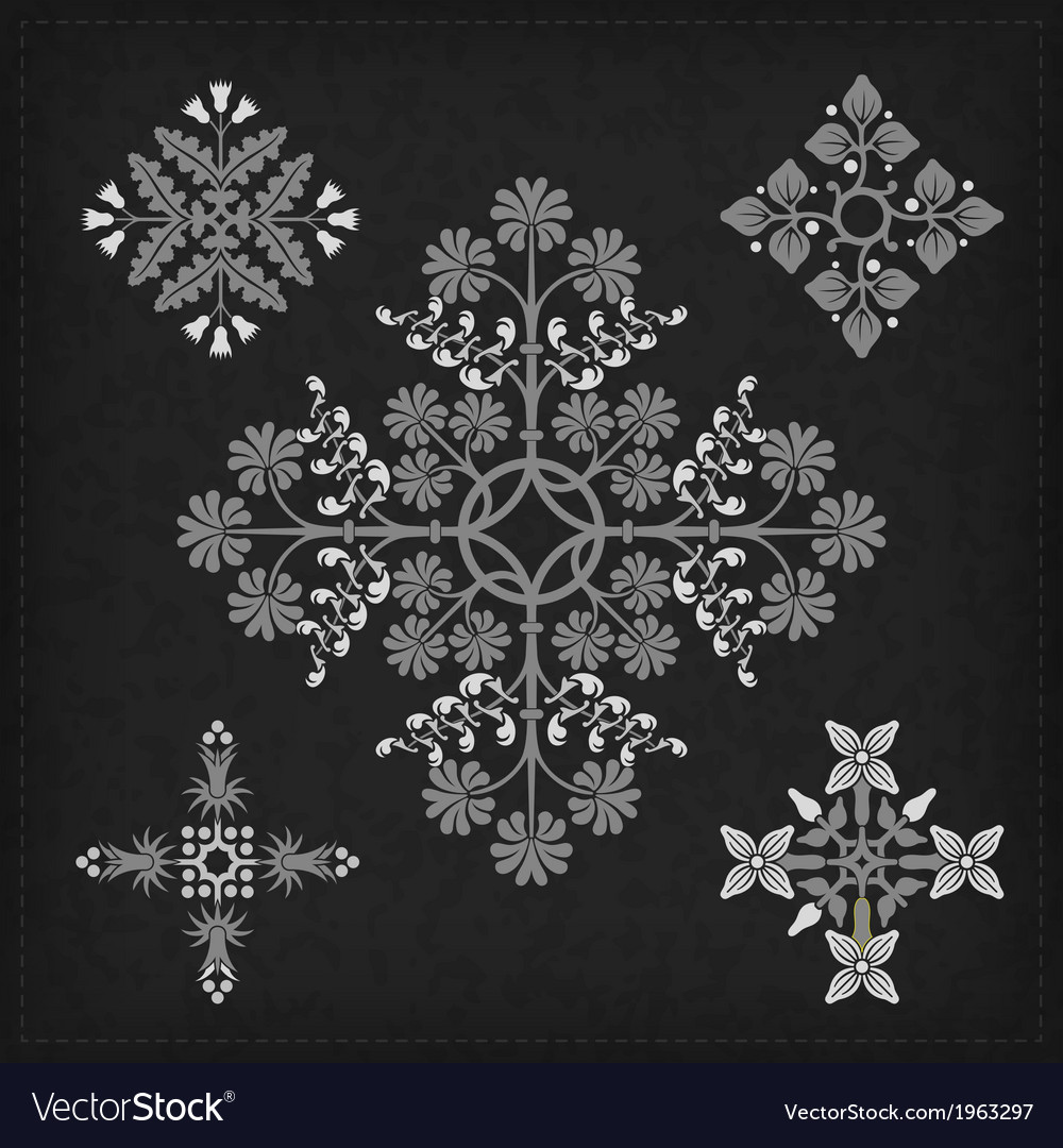 Set of decorative ornament elements vector | Price: 1 Credit (USD $1)