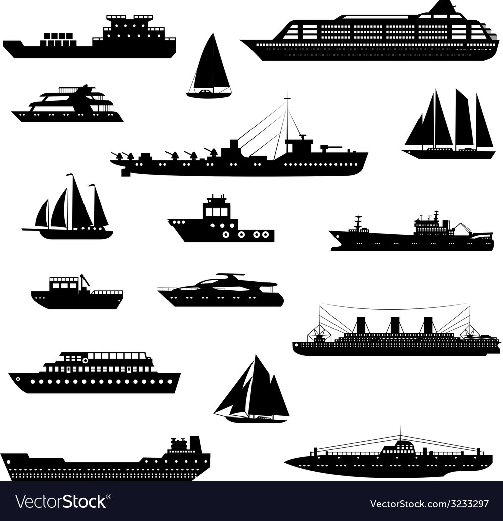 Ships and boats set black and white vector | Price: 1 Credit (USD $1)