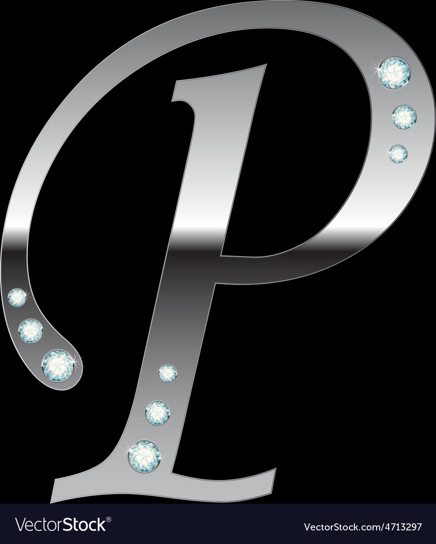Silver metallic letter p vector | Price: 1 Credit (USD $1)