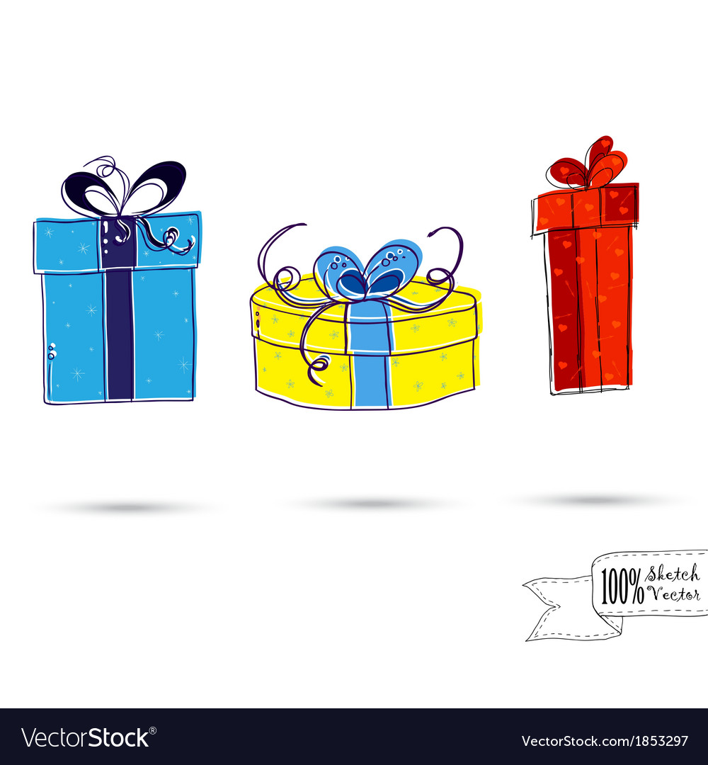 Sketch of three gift boxes with bows isolated on vector | Price: 1 Credit (USD $1)