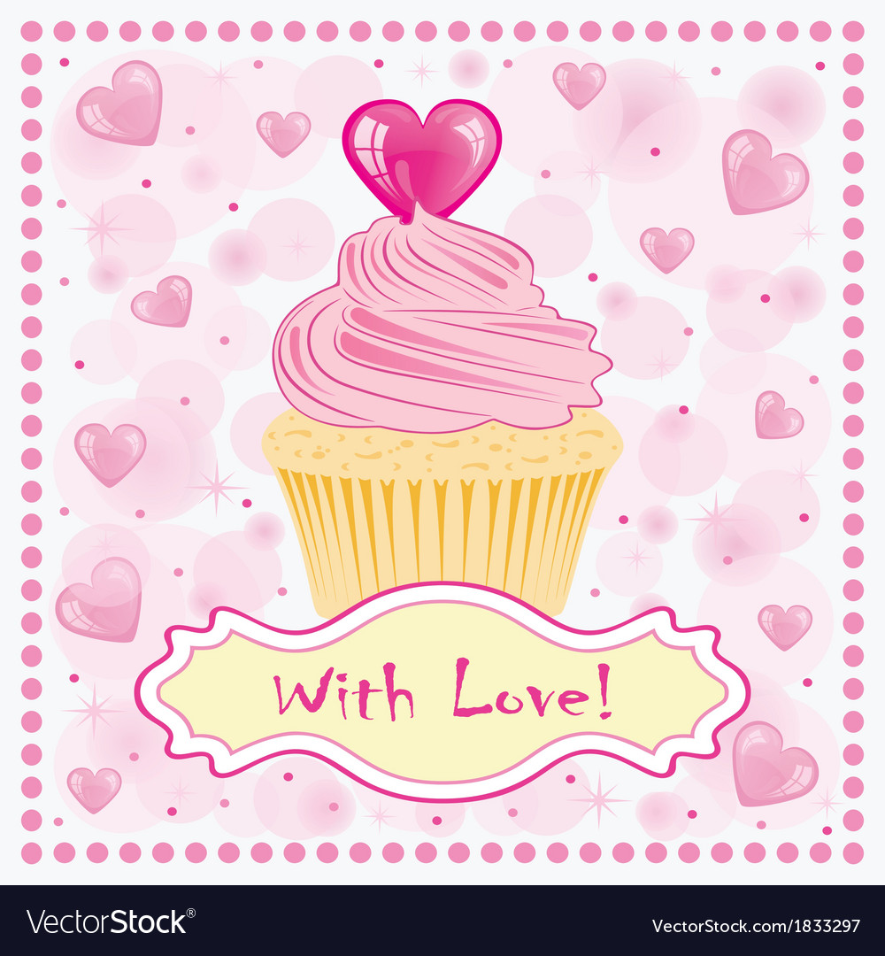 Valentines day greeting card with cake on the vector | Price: 1 Credit (USD $1)