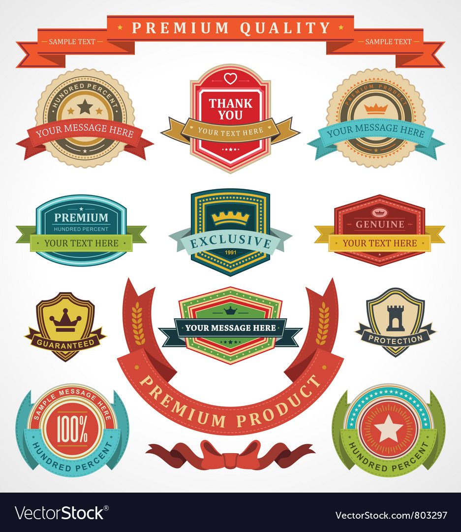 Vintage labels and ribbons vector | Price: 3 Credit (USD $3)
