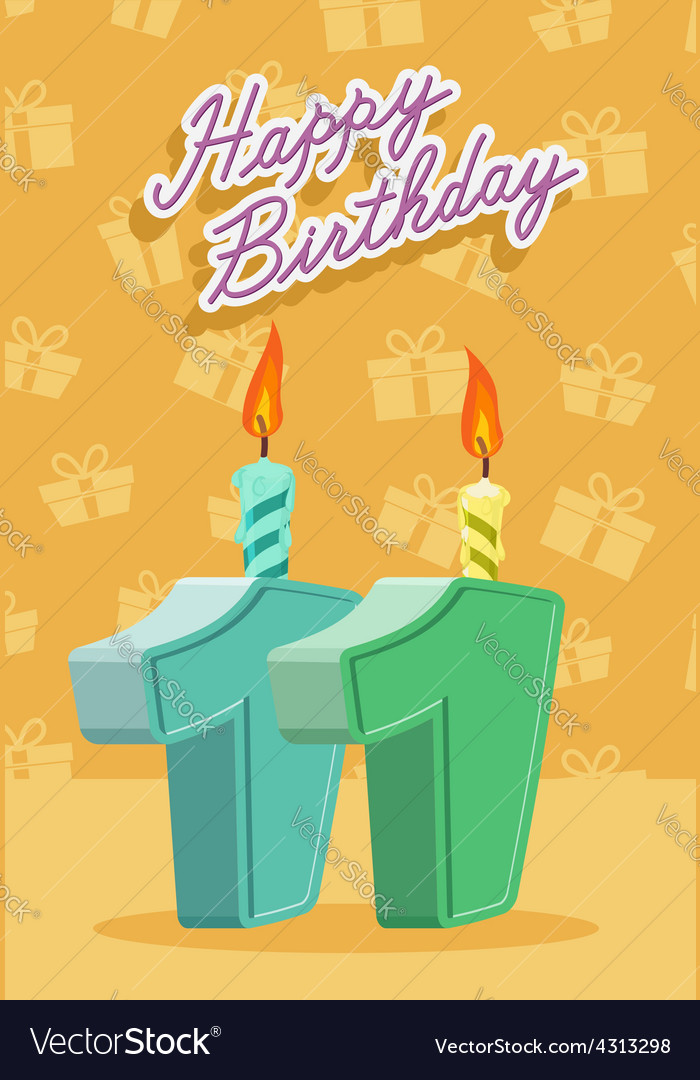 11 years celebration 11nd happy birthday vector | Price: 1 Credit (USD $1)