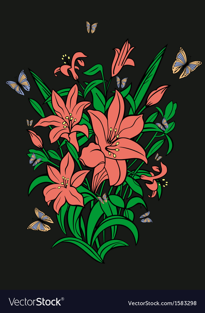Abstract flowers and butterflies with background vector | Price: 1 Credit (USD $1)