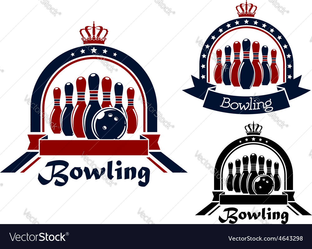 Bowling symbol or emblem in round frame vector | Price: 1 Credit (USD $1)