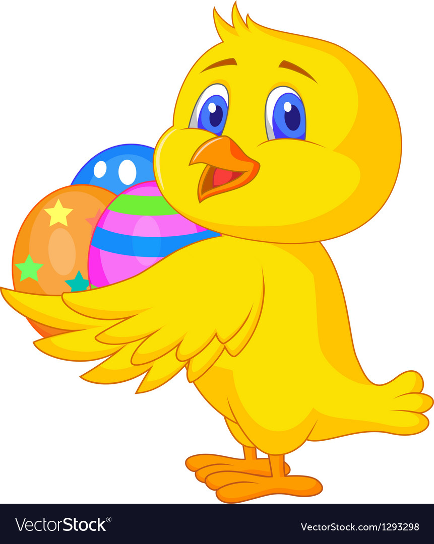 Cute chicken cartoon with easter egg vector | Price: 1 Credit (USD $1)