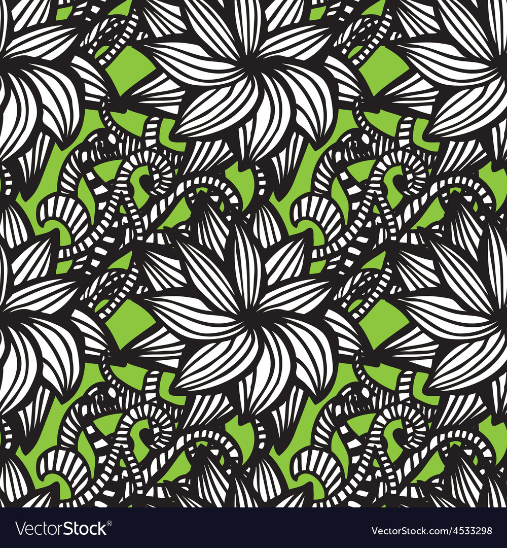Elegant seamless pattern with flowers vector | Price: 1 Credit (USD $1)