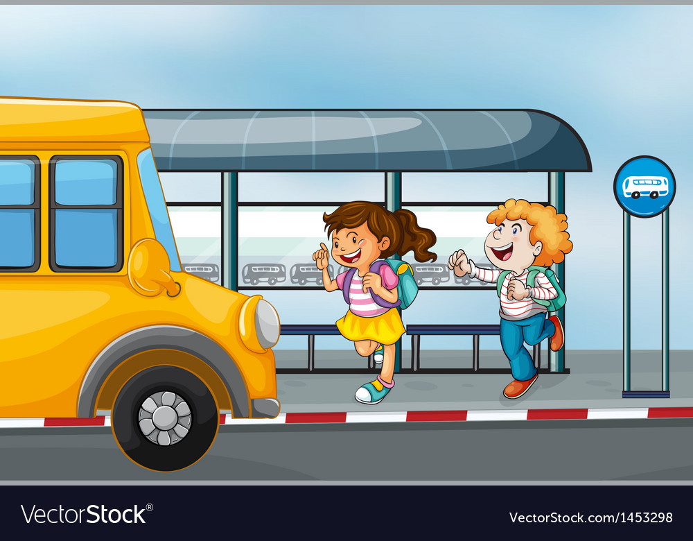Happy passengers at the bus station vector | Price: 1 Credit (USD $1)
