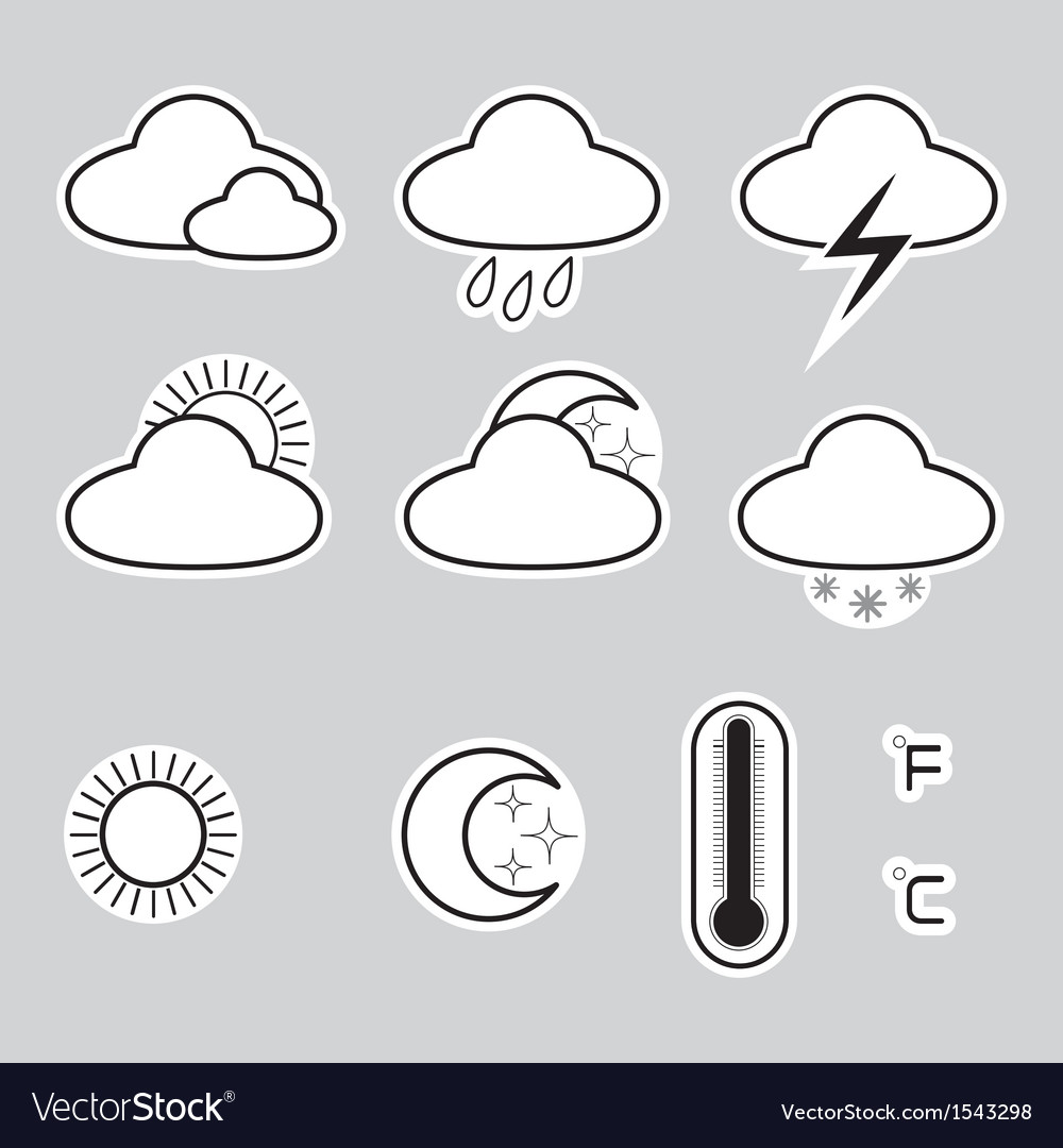 Icons indicate the weather on a gray background vector | Price: 1 Credit (USD $1)