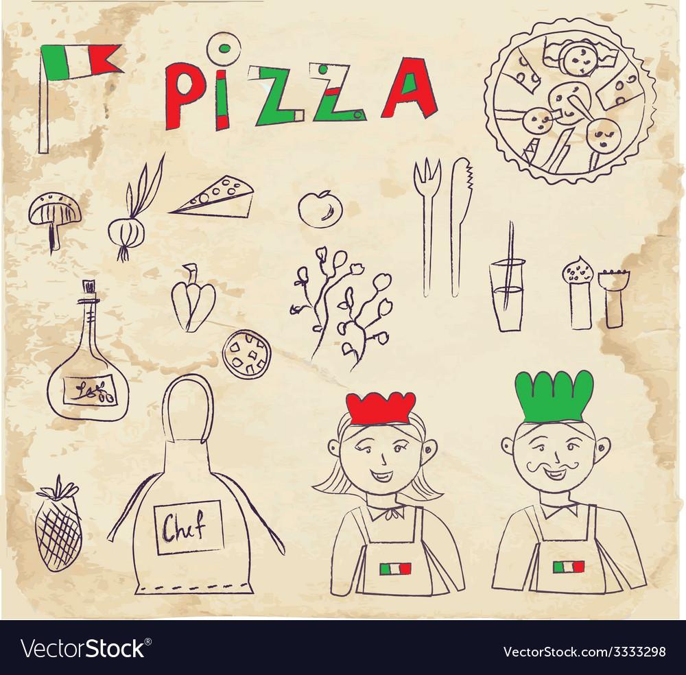 Pizza hand drawn elements - retro design vector | Price: 1 Credit (USD $1)