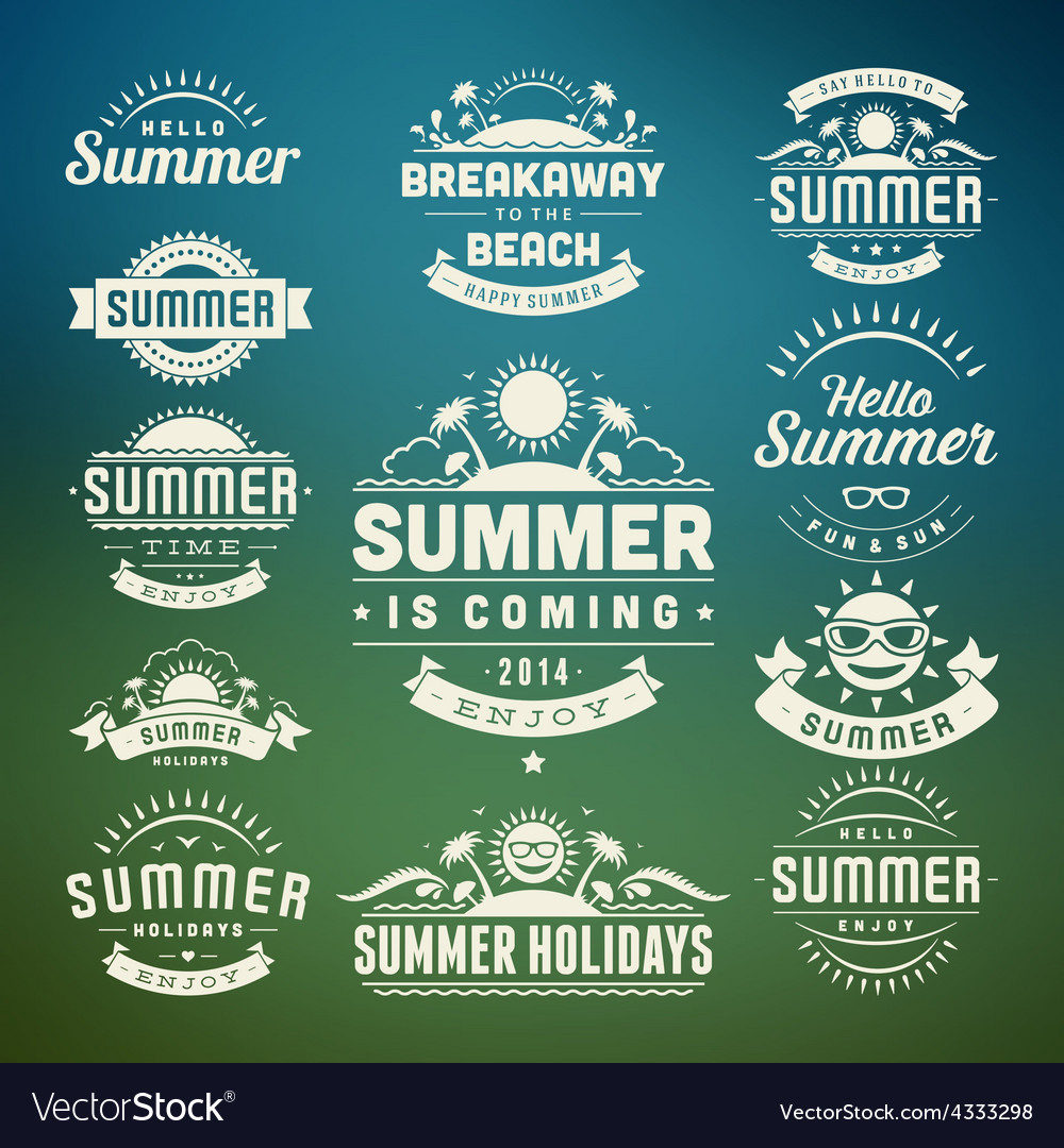 Retro summer design elements vector | Price: 1 Credit (USD $1)