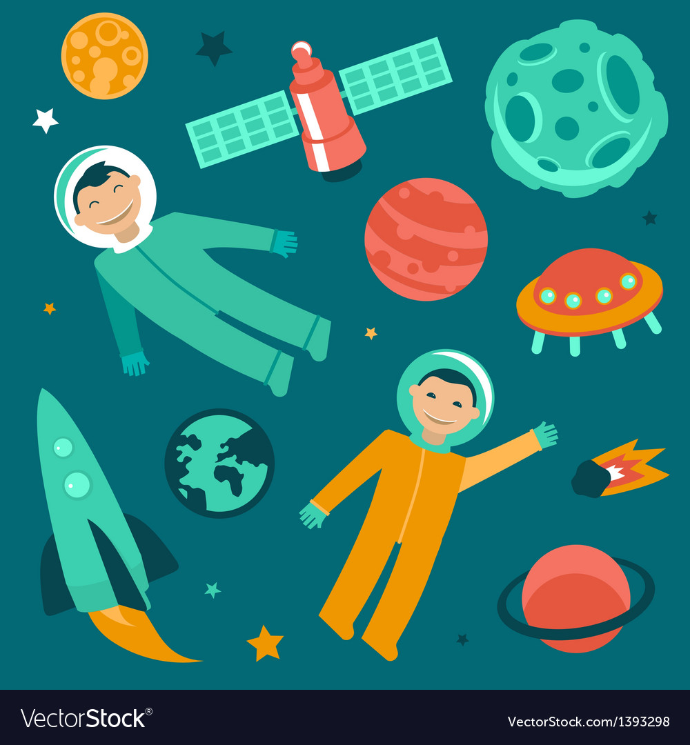 Set with space and planets icons vector | Price: 1 Credit (USD $1)