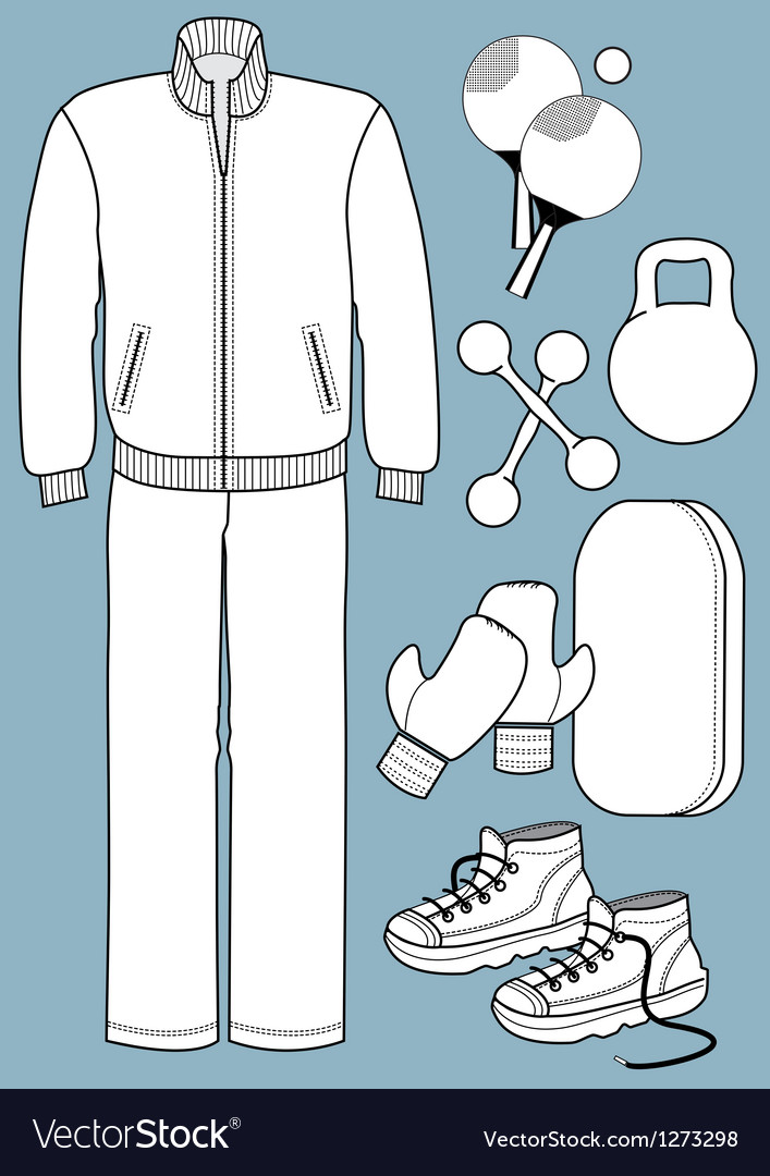 Sport suit with equipments vector | Price: 1 Credit (USD $1)