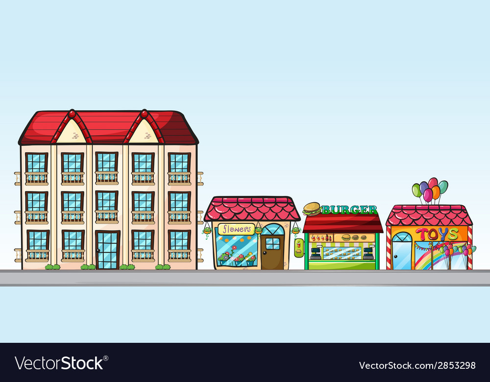 Stores on street vector | Price: 1 Credit (USD $1)