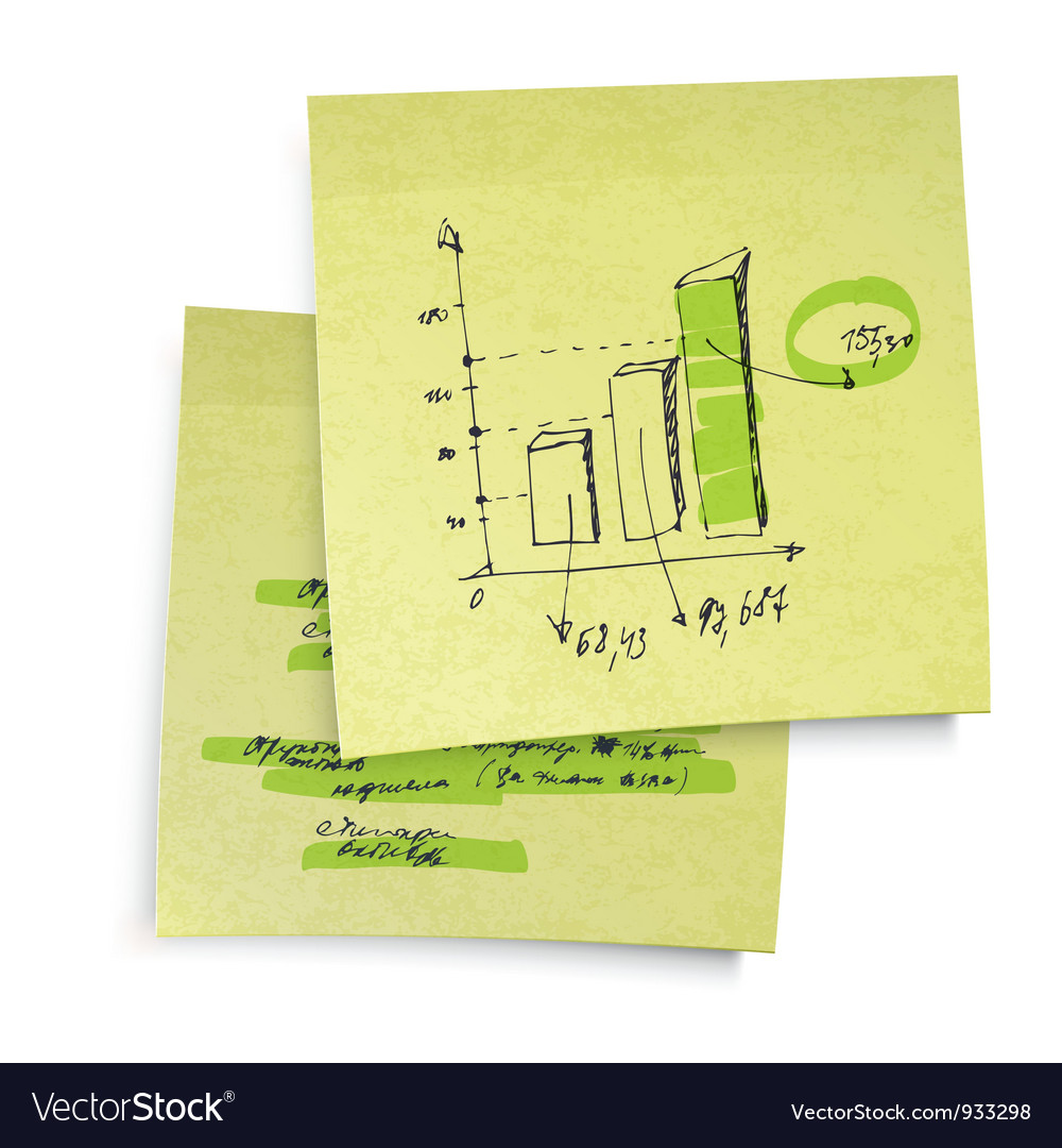 Sucessful business graph on sticky paper realistic vector | Price: 1 Credit (USD $1)