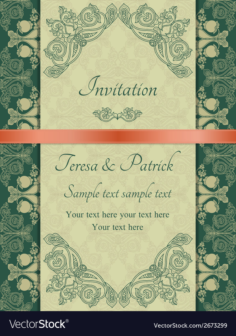 Baroque invitation green vector | Price: 1 Credit (USD $1)
