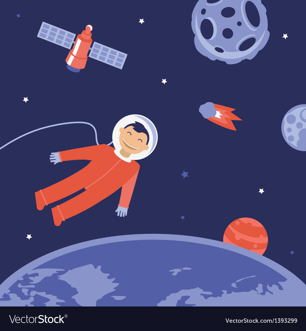 Cartoon astronaut in space vector | Price: 1 Credit (USD $1)