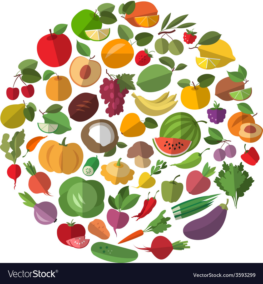 Cartoon vegetables and fruits vector | Price: 1 Credit (USD $1)