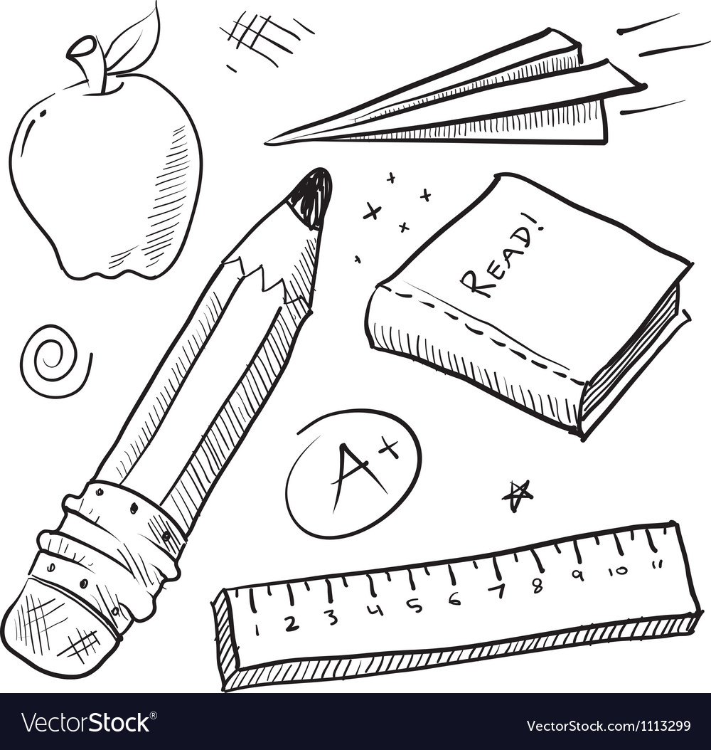 Doodle school book pencil paper apple learn vector | Price: 1 Credit (USD $1)